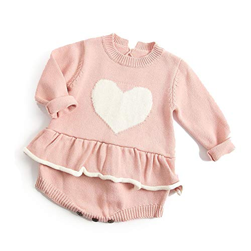 tthappy76 Baby Girl's Knit Rompers Long Sleeve Wool Knitted Rompers Baby Princess Triangle Jumpsuit Toddler Kid's Summer Clothing,Pink Heart,9M ()