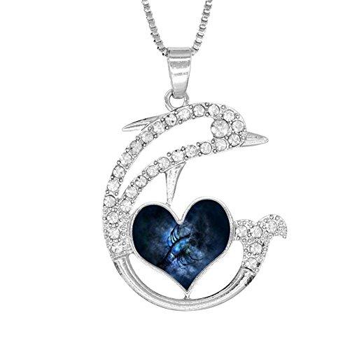H-Beufun Jumping Dolphin Love Heart Pendant Necklace Capricorn 3D Printed (Enh Kit)