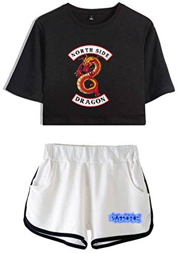SERAPHY Riverdale Crea Magliette e Pantaloncini Crop Top per Ragazze e Donne 5882-nero-bianca