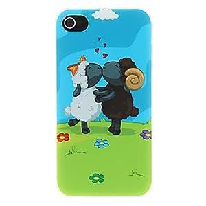 Amantes de las ovejas que se besan en la hierba con el modelo Blue Sky Mate Diseñado estuche rígido de la PC para el iPhone 4/4S