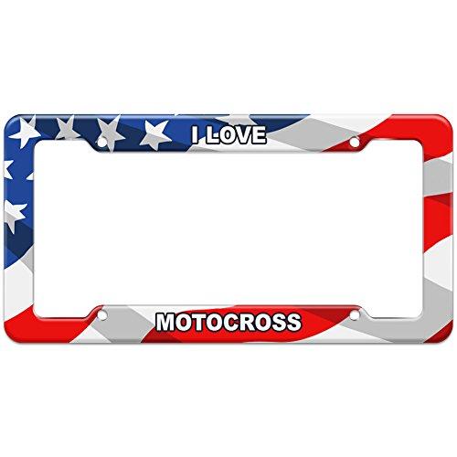 Fmf License Plate Frame - American Flag License Plate Frame I Love Sports Hobbies Ma-Oi - Motocross