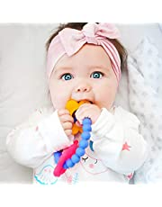 Nuby Chewy Charms 100% Soft Girls/Butterfly and Flower Silicone Teether, Purple/Pink/Yellow