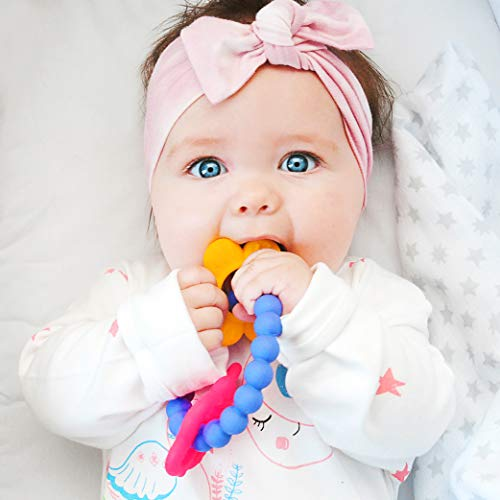 Purple Kids Charm - Nuby Chewy Charms 100% Soft Girls/Butterfly and Flower Silicone Teether, Purple/Pink/Yellow