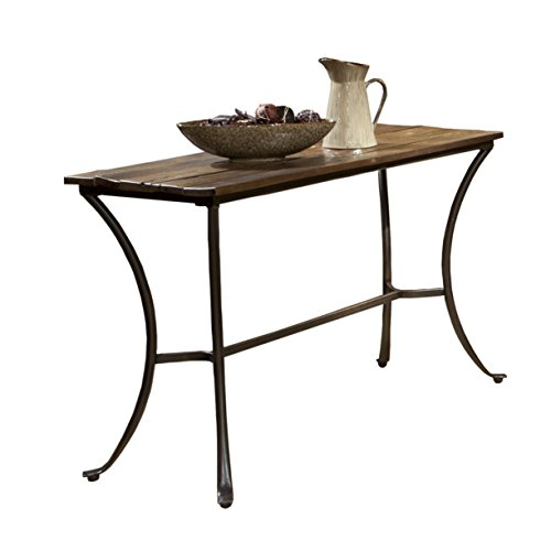 Bristol Sofa - Emerald Home Innsbruck Medium Brown Sofa Table with Solid Wood Top And Curved Metal Base