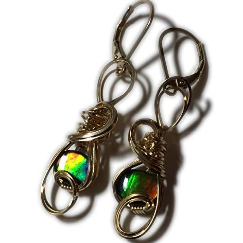AMMOLITE Earrings, Triplet, Crystal Top -14k Gold Filled, Earrings, 86G5-95 ()