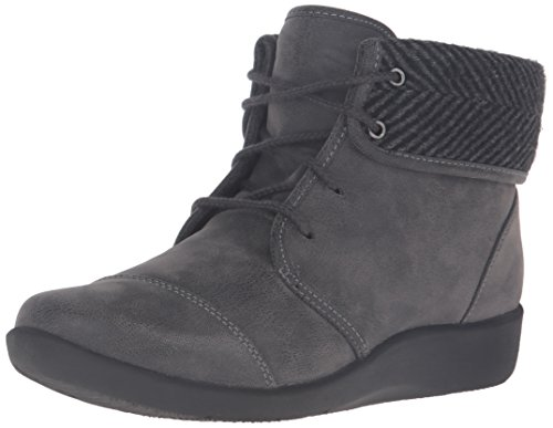 CLARKS Women's Sillian Frey Boot, Grey Synthetic Nubuck, 9.5 W US