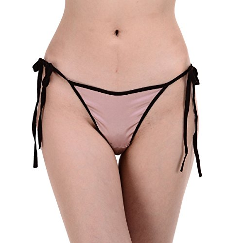 Lady's Silk Spandex Satin Low Rise String Bikini Panties ...