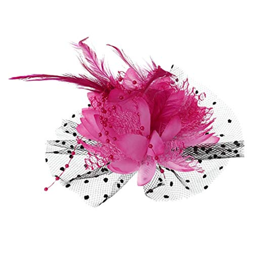 (Women Bridal Hair Decoration Mesh Bow Feather Beads Wedding Fascinator Dot Veil Hair Clip Brooch HP)