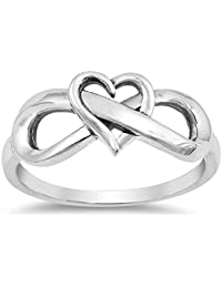 CHOOSE YOUR COLOR Sterling Silver Infinity Love Knot Heart Promise Ring