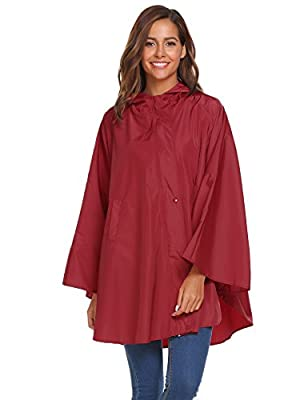 Soteer Womens Rain Poncho Batwing-sleeved Hooded Raincoat WaterProof Packable Rain Jacket with Pockets