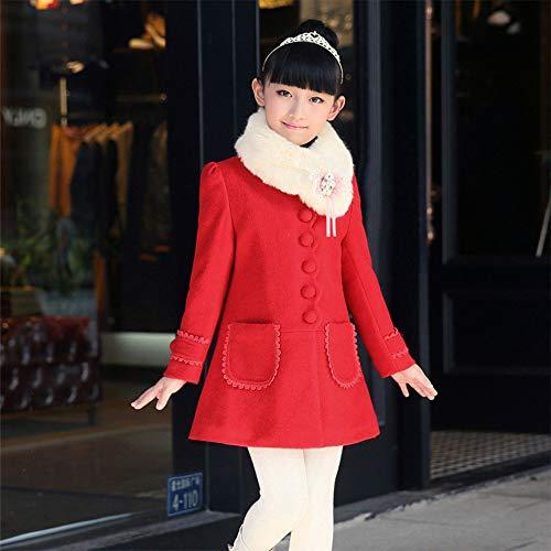 Bozevon Vento Per Rosso Giacca Cappotto Bambina Invernale Spessa Lana Pelliccia In A Colletto rqr7PwnHI