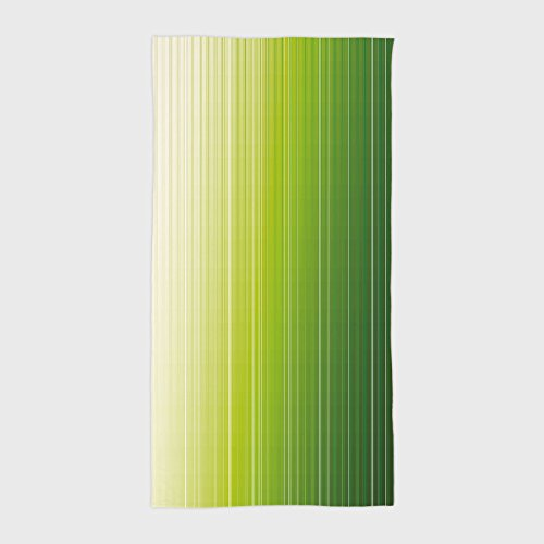 iPrint Cotton Microfiber Hotel SPA Beach Pool Bath Hand Towel,Sage,Ombre Style Composition with Color Shades and Vertical Digital Stripes Decorative,Green Pale Green White,for Kids, Teens, and (Hotel Collection Ombre Stripe)
