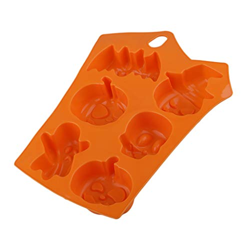 (Prettyia Evil Pumpkins, Bats, Skeletons and Ghosts Shape Baking Silicone Halloween Cake Mold Pudding Jello Dessert)