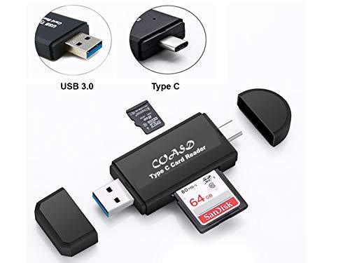 USB 3.0 Type C Memory Card Reader COASD, SD/Micro SD Card Reader with Standard USB Male for SD, Micro SD, SDXC, SDHC, Micro SDHC, Micro SDXC Memory Card (Black)