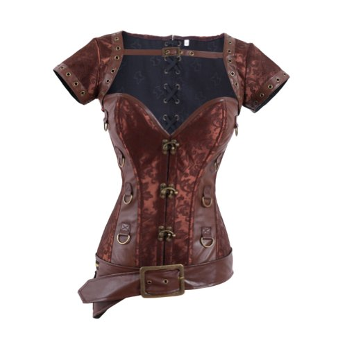QinYing Women Steampunk Corset Brocade Bustier Short Sleeve Jacket - Prom Queen Halloween Costume Diy