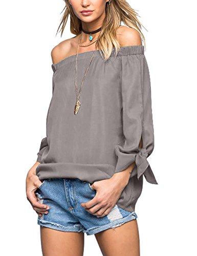Just Quella Women's Off Shoulder Loose Shirt Blouse (Small, Grey)