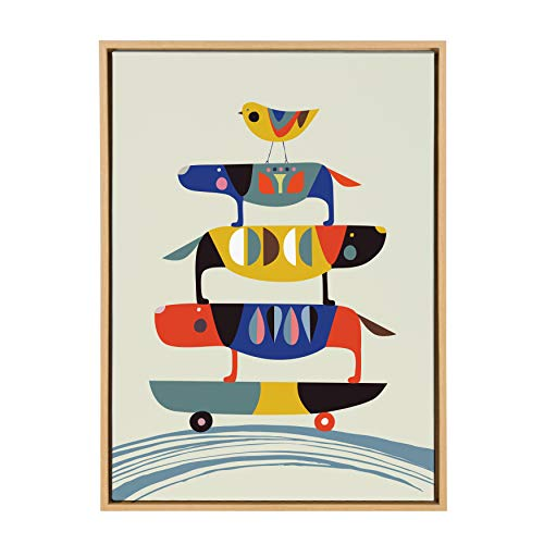 (Kate and Laurel Sylvie Skate Dogs Colorful Animal Block Print in Framed Canvas Wall Art by Rachel Lee, 23x33 Natural)