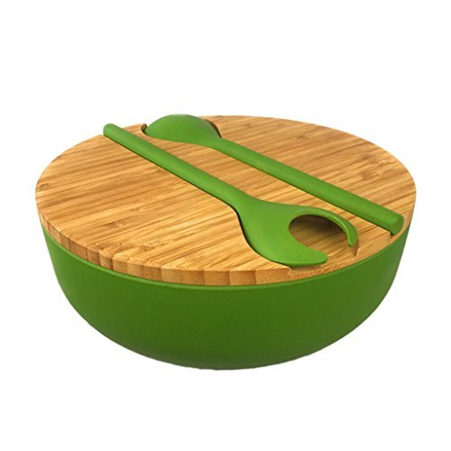 Bamboo Salad Serving Bowl Set with Lid and Utensils - Cute Wooden Bowl with Cutting Board Cover and Servers for Salads, Pasta, Fruit, Side Dishes - Eco-friendly, BPA-Free - Great ()