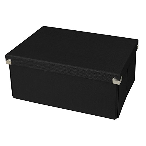 Samsill PNS04LSBK Pop n' Store Decorative Storage Box with Lid - Collapsible and Stackable - Medium Document Box - Black - Interior Size (12
