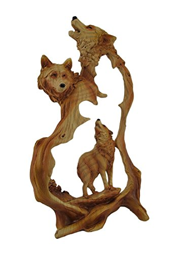 (unison gifts MMD-182 12 Inch Wolf Pack Howling Woodlike Carving Statue Figurine)