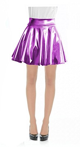 - Women Metallic Faux Leather Full Circle Skater Skirt-L-MetallicPurple