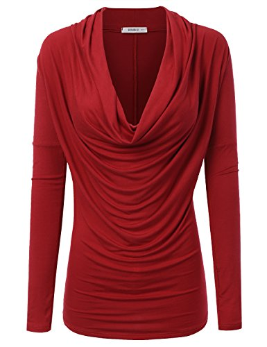 Doublju Soft Knit Cowl Neck Blouse Top for Women with Plus Size (Made in USA)