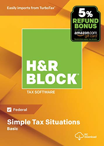 H&R Block Tax Software Basic 2018 with 5% Refund Bonus Offer [PC Download]