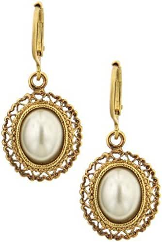 1928 Jewelry Her Majesties Filigree Simulated Pearl Earrings