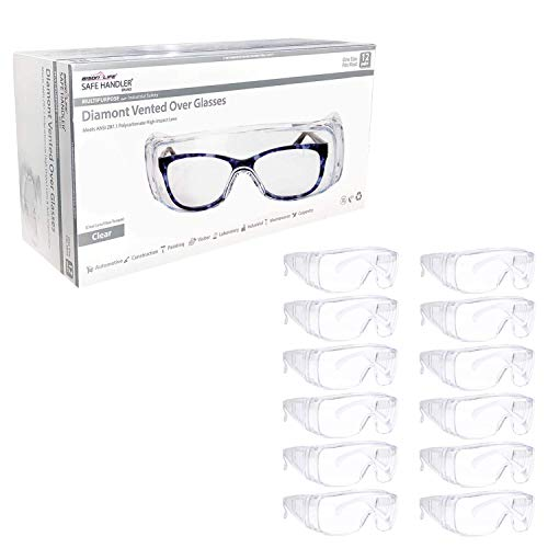 SAFE HANDLER Diamont Vented Over Glasses Safety Glasses 12 PAIRS | Meets ANSI Z87.1, Impact Resistant Polycarbonate Lens, 99% UV Protection (1 box/12 Pairs)