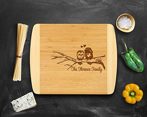 - Personalized Cutting board by Krezy Case, Bridal Shower Gift, Owl Couple Engraved Cutting Board, 2 tone cutting board, Large Cutting board, Anniversary Gifts, Housewarming,Birthday, Corporate Gift