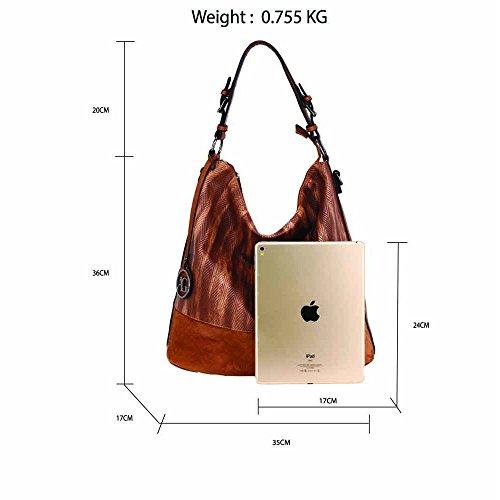 Ladies Handbag Designer Tote Brown Leather Faux Hobo Shoulder Bag Womens qFB1pB