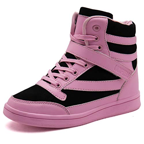 UBFEN Women's Shoes Hidden Wedges 5.5cm Fashion Sneakers Ankle Boots Bootie Platform Heel High Top Casual Sports Black Pink 7.5 B(M) US