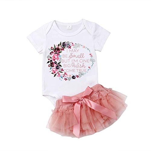 2Pcs Newborn Baby Girl Outfits Set Floral Letter Print Romper Bodysuit Lace Tutu Skirts Clothes Set 0-18M (White&Pink, 3-6 Months)