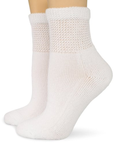Dr. Scholl's Women's 2 Pack Diabetes Circulatory Ankle Socks,  White, Shoe: 4-10