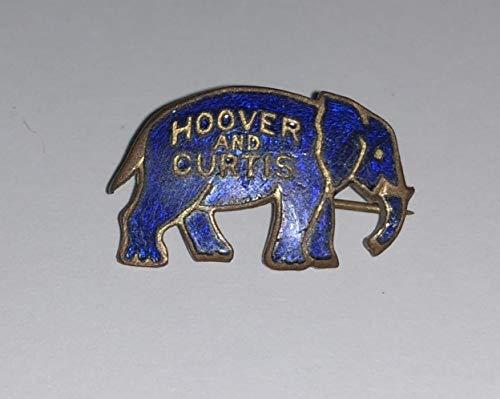 Vintage Cobalt Blue Hoover & Curtis President Campaign Political Pinback Pin