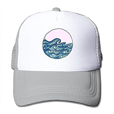 Ocean Waves Adjustable Snapback Baseball Cap Mesh Trucker Hat from Huishe1