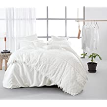 White Solid Color Fresh Style Princess Duvet Cover Set,100% Cotton 400TC Bedding Set,Queen King Size For Winter Autumn (CN QUEEN)