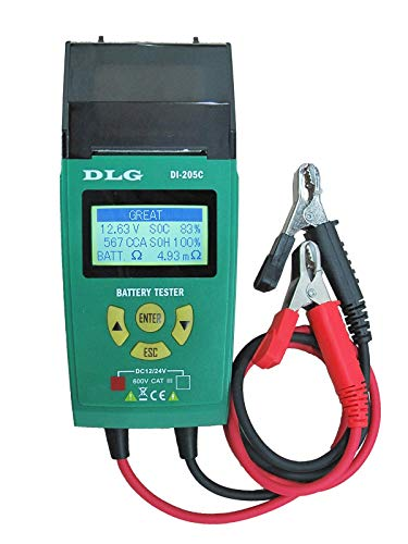 DLG DI-205C 12V 24V Automotive Truck Battery Tester Checking CCA/SOH/Internal Resistance/Starting System/Charging System/Maximum Load System Printer English Spanish Interface -