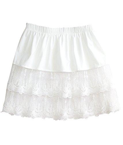 Lace Slip Half Slip - Vanrose Jan Lace Skirts Extenders Extra Length for Tanks Tops(White 8728,2XL/3XL)