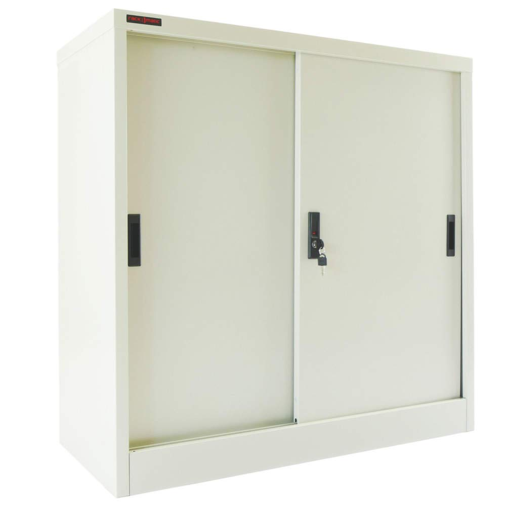 Office metal filing cabinet with sliding doors 900x900x400mm gray RackMatic RackMatic.com