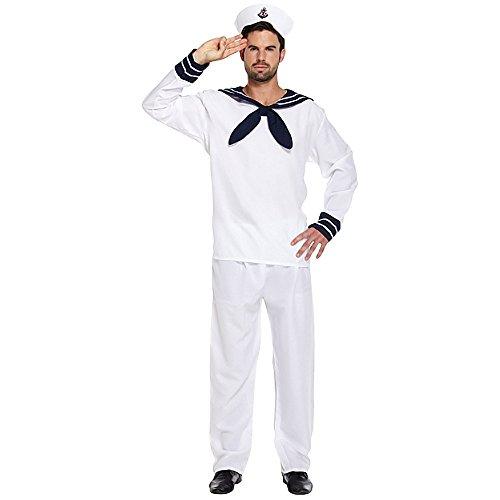 Naval Captain Uniform Costume (Sailor Fancy Dress Costume (White))