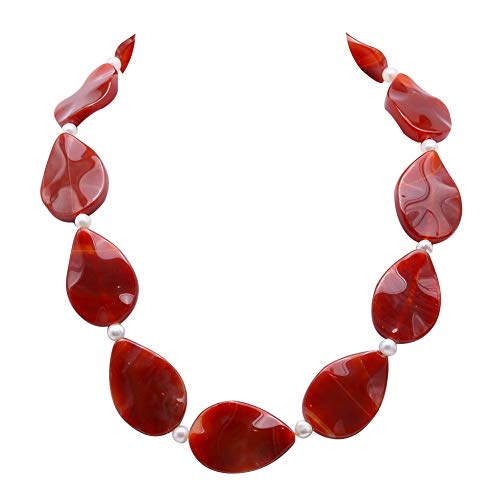 - JYXJEWELRY Red Agate Necklace 23x35mm Leaf-Shape Natural Agate Flaky Single Strand Alternated 6mm White Pearl Jewelry for Women 18