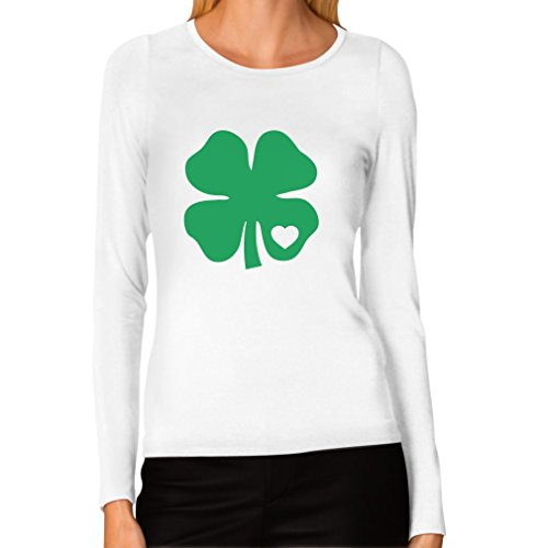 Tstars Irish Shamrock Green Clover Heart ST. Patrick's Day Women Long Sleeve T-Shirt X-Large (Irish Heart Green T-shirt)