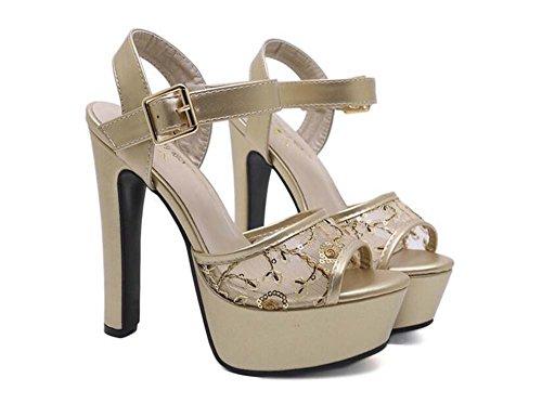 15cm Chunkly talon 5 cm plate-forme épaisse pompe sandales à talons hauts en maille chaussures de mariage femmes Sweet Peep Toe D'orsay Slingbacks Ankel Strap robe chaussures solide Ney Yarn Cour chau Gold