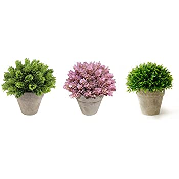 Kumii Small Artificial Plastic Potted Plant Home Decor Grass Office Desk Pink