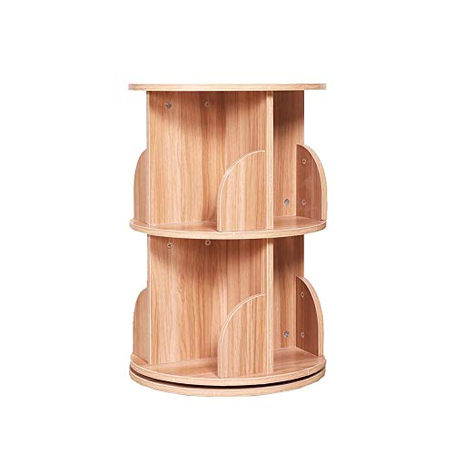(Jcnfa-Shelves Rotating Bookshelf Round Combination Frame Solid Wood Save Space Cube Storage Modern Bookcase Display Shelf ,5 Colors (Color : Light Walnut, Size : 18.1118.1126.77in))