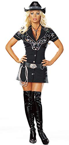 Dreamgirl Plus Rhinestone Cowgirl Dress, Black, 1x/2x