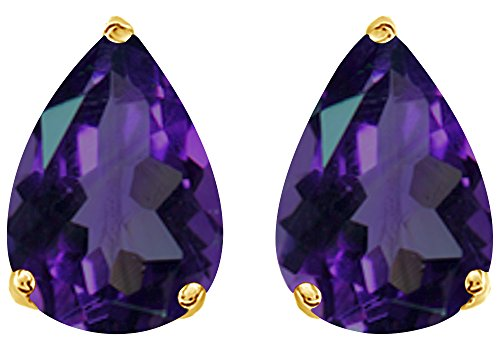 (Simulated Purple Alexandrite Pear Shape Stud Earrings In 14K Yellow Gold Over Sterling Silver (5 Ct))