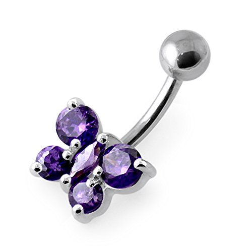 - Purple Gemstone Trendy Butterfly Design 925 Sterling Silver Belly Button Rings