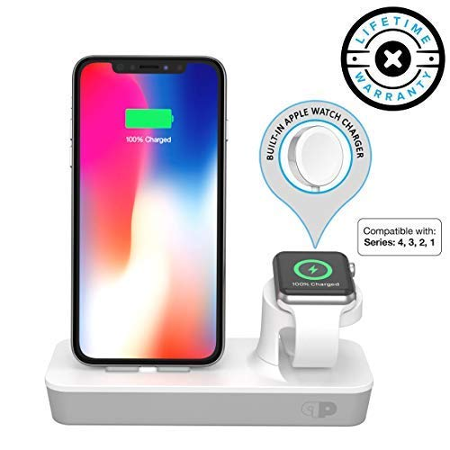 ONE Dock Duo Power Station Dock, Stand & Charger with Built-in ORIGINAL Charger for Apple Watch Smart Watch (Series 4, 3, 2, 1, Nike+), iPhone X/10/8/8 Plus/7/7Plus/6s/6s, iPad and iPod